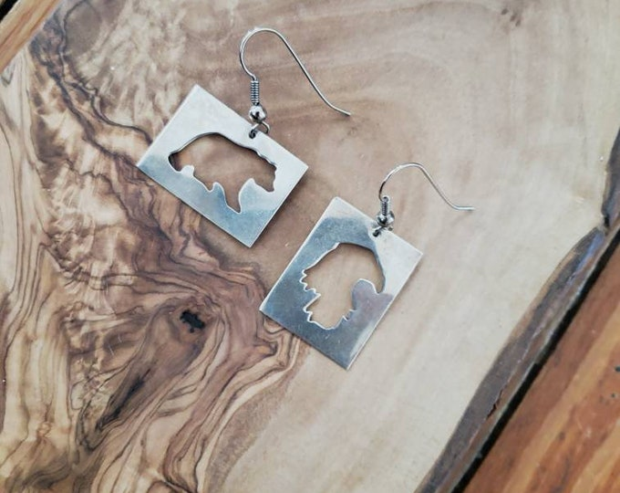 Sterling Bear and Eagle Silhouette Earrings