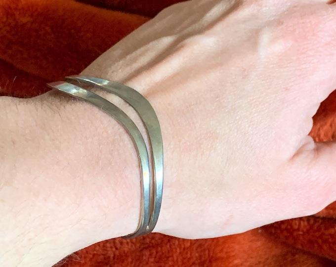 Mid Century Modernist Sterling Silver Wave Cuff