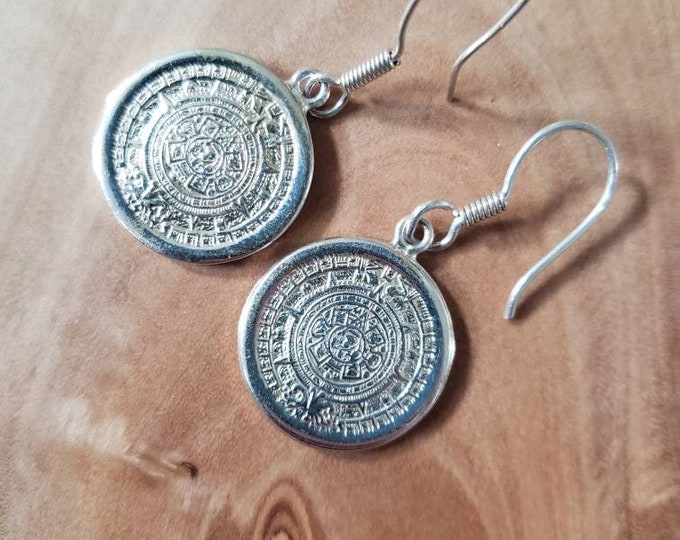 Vintage Sterling Patterned Disc Dangle Earrings