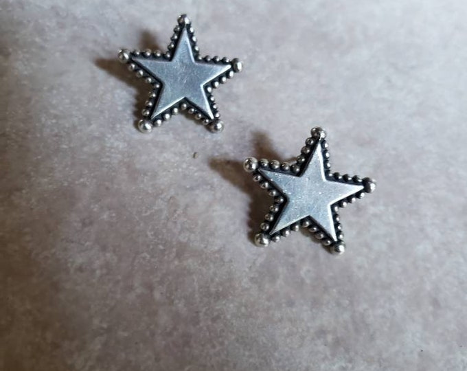 Sterling Silver Star Earrings with Pointed Border