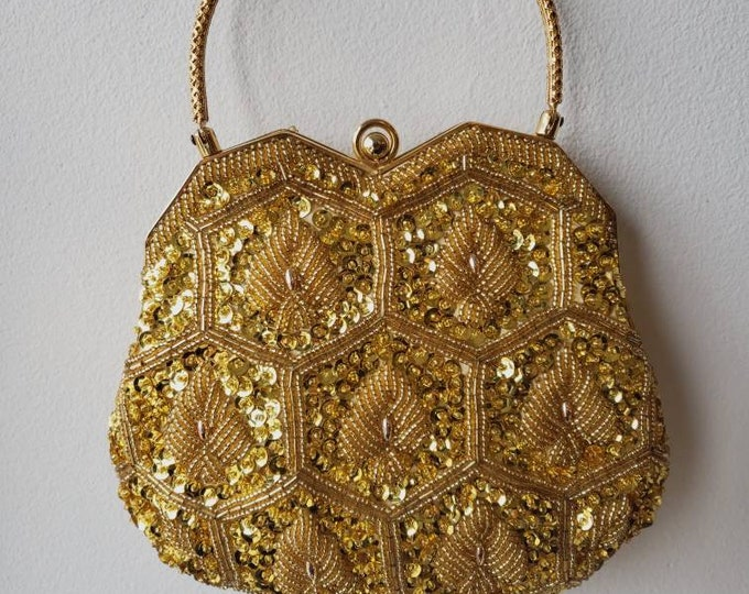 Vintage Walborg Golden Beaded Purse with Structured Handle