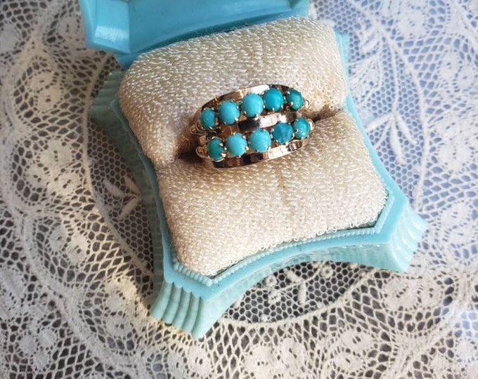 Victorian Rose Gold and Persian Turquoise Ring