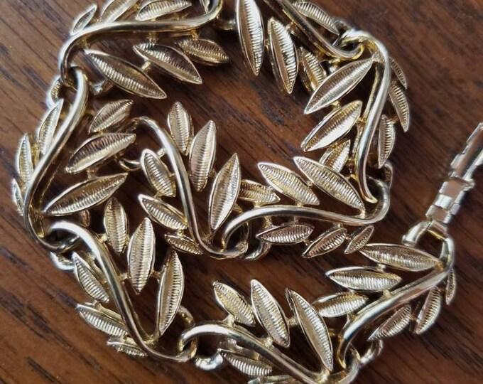 Vintage Napier Gold Toned Leaf Bracelet