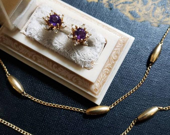 14k Amethyst and Diamond Starflower Studs