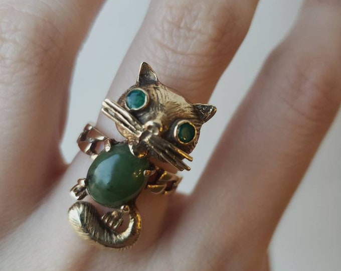 Vintage 14k Jade and Emerald Cat Ring