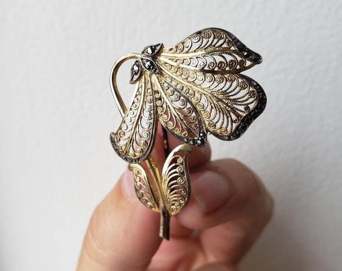 Vintage German Sterling and Marcasite Flower Pin