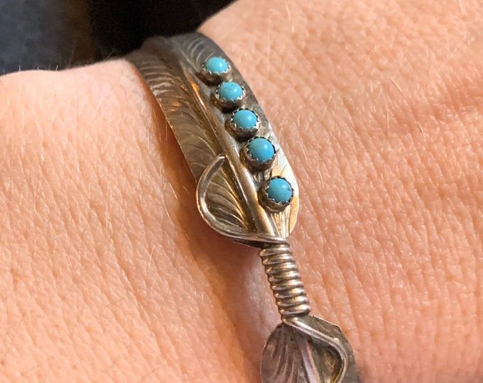 Sterling Silver Turquoise Feather Cuff Bracelet by C. Charley Signed
