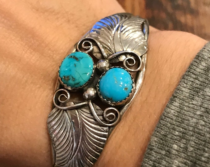 Native American Two Tone Turquoise Cuff Bracelet