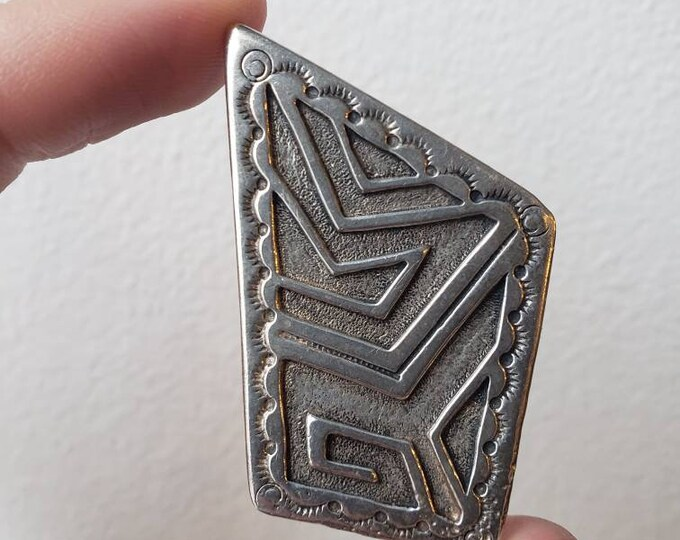 Signed AJM Vintage Sterling Silver Abstract Pendant
