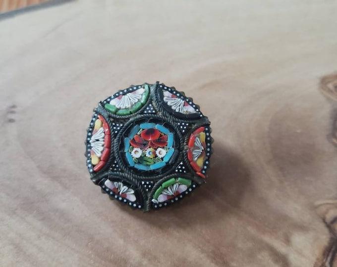 Colorful Italian Micro Mosiac Flower Pin