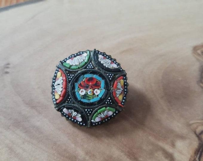 Colorful Italian Mosiac Flower Pin
