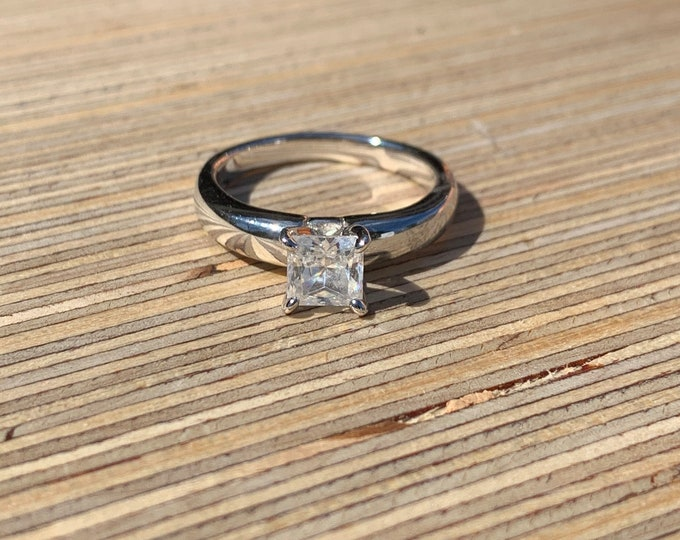 Sterling Silver CZ Square Solitaire Ring