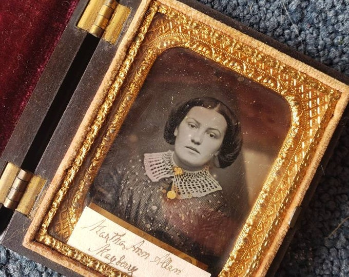 Antique 1800's Tin Type Photograph Booklet of Martha Ann Allen Mayberry
