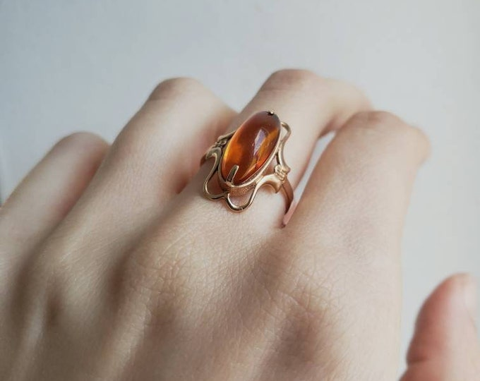 14k Elongated Amber Ring with Unique Setting