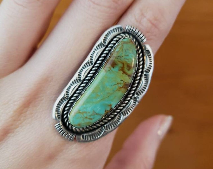 Royston Turquoise Signed S. Yazzie Statement Ring