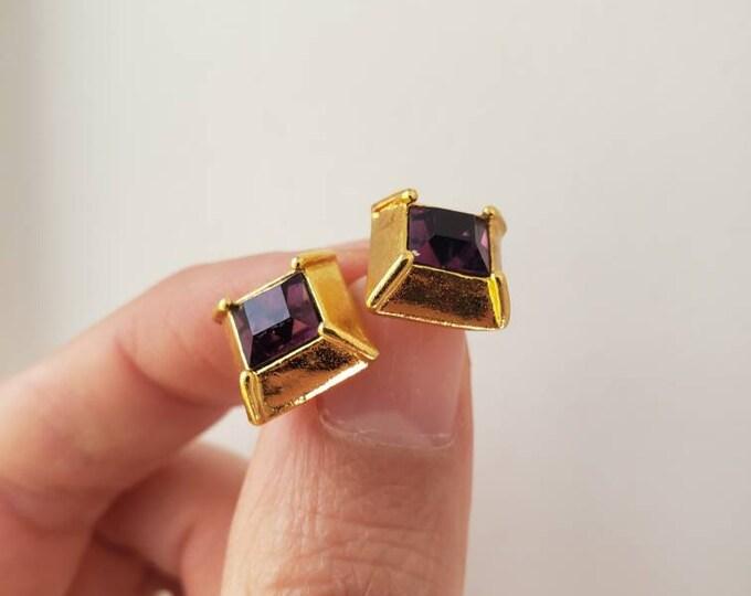 ALVA Museum Replica Purple Crystal Studs