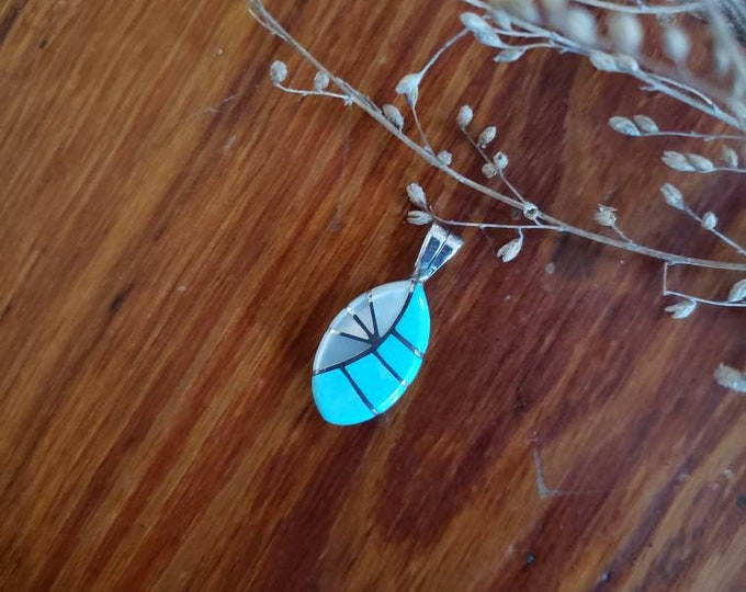 Sterling Silver Turquoise and Shell Inlay Pendant