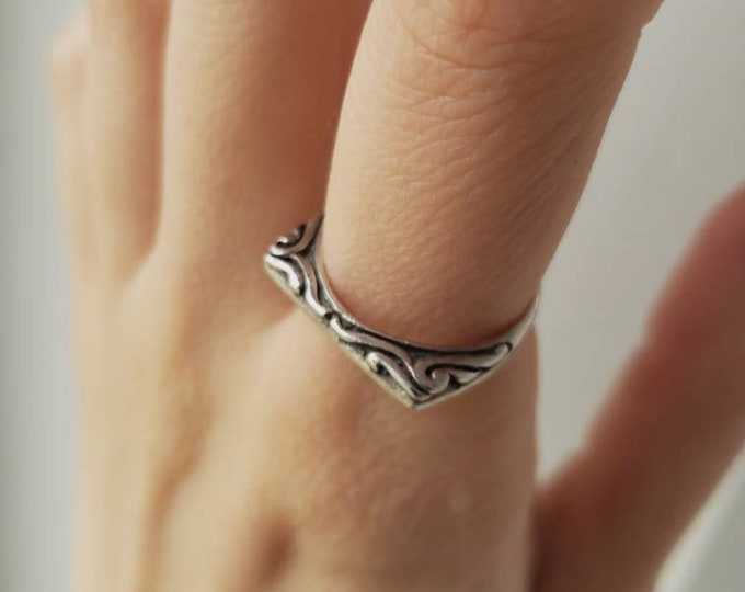 Straight Edge Swirl Design Stackable Sterling Band
