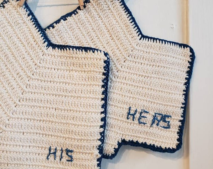 Handmade 1960's Crocheted HIS and HERS Bloomer Potholders