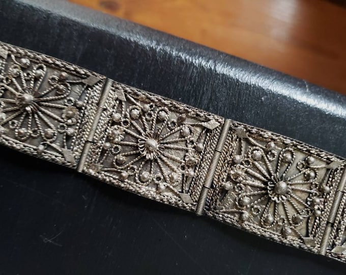 1930's Handmade Turkish Bracelet with Pin Clasp