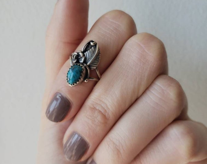 Signed Native American Sterling and Turquoise Blooming Rose Ring