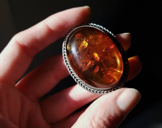 Vintage Polish Amber and Sterling Oval Brooch and Pendant