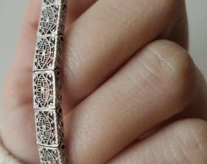 Antique 14k White Gold Filigree Bracelet