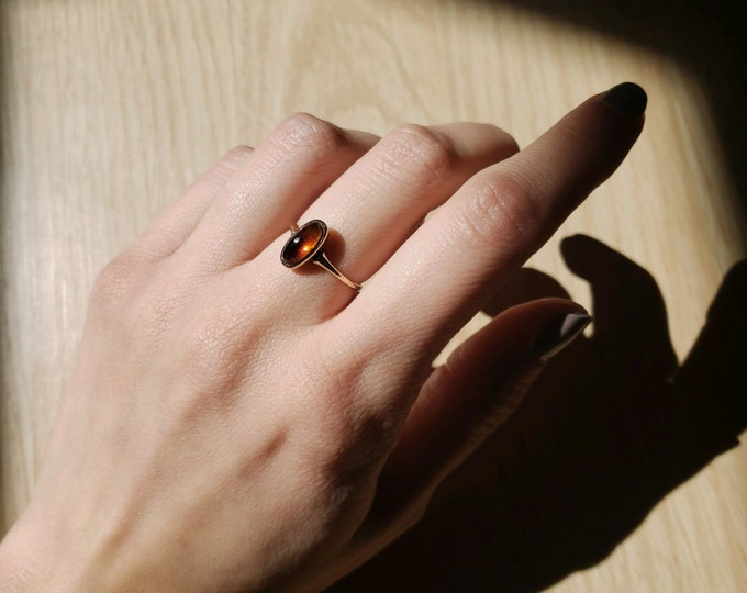 Gorgeous 14K Gold Amber Cabochon Ring