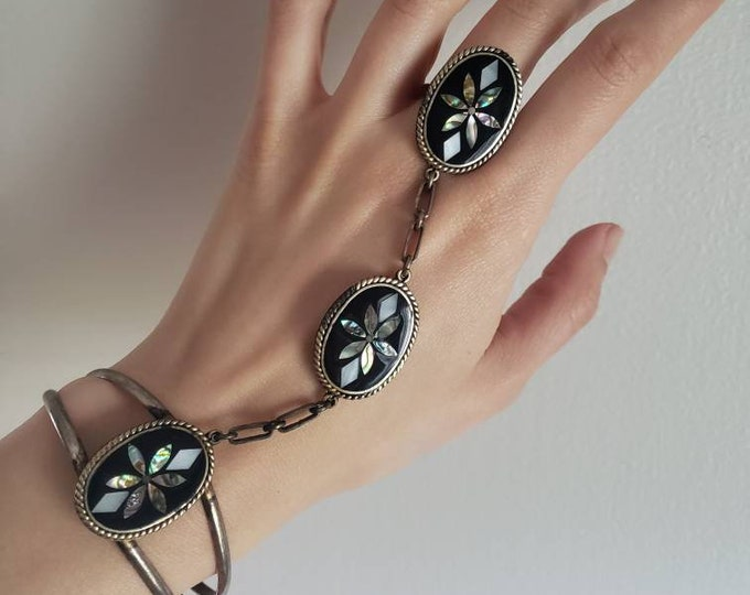 Mexican Sterling, Onyx, Mother of Pearl and Abalone Hand Adornment Cuff and Ring