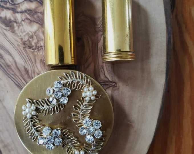 Vintage Lipstick Holder with Mirror and Flower Detailing