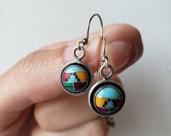 Vintage Sterling Silver and Multi-Stone and Enamel Inlayed Earrings