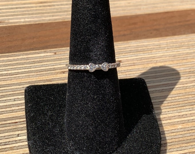 Sterling Silver CZ Bow Stacking Ring