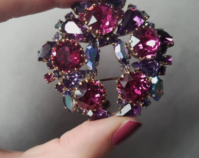 Mid-Century Pink and Purple Austrian Crystal Brooch