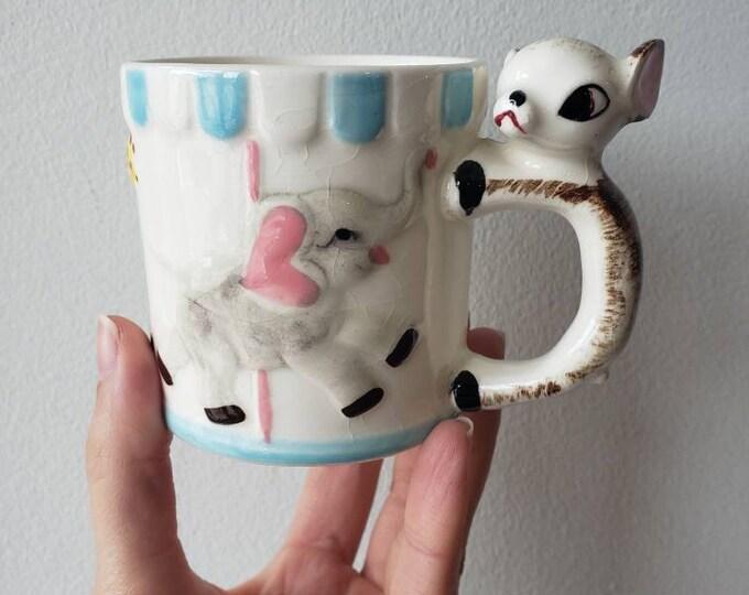 Mid-Century Baby Animal Carousel Children's Mug