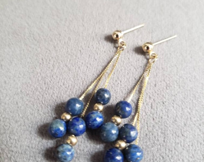 Beaded 14k Gold and Lapis Cluster Dangle Earrings