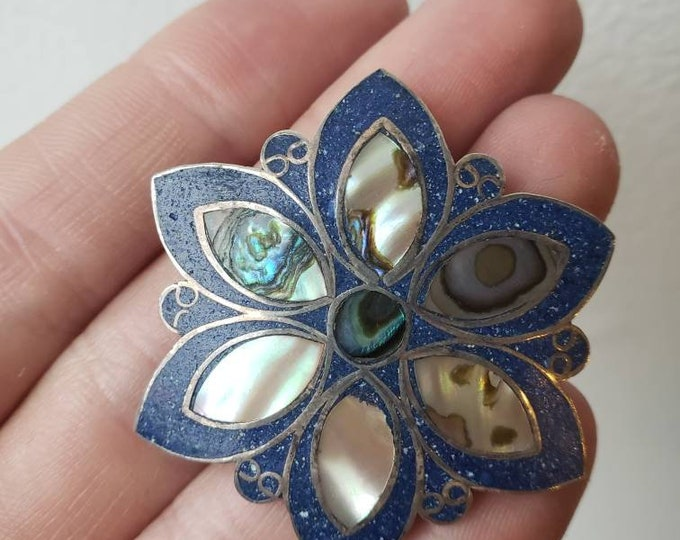 Vintage Taxco Sterling and Abalone Flower Pendant/Pin