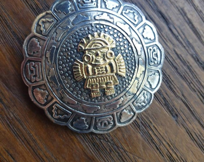 Vintage Sterling Silver and 18k Gold Incan Sun God Pin/Pendant