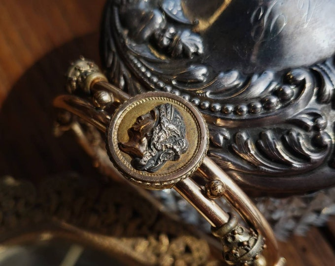 "Victorian 9k Gold Cameo Bangle Bracelet, Inscribed ""Betty"""
