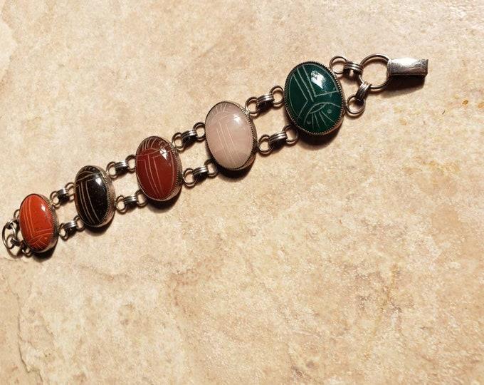 Vintage Signed JTJ Sterling and Multi-Stone Scarab Link Bracelet