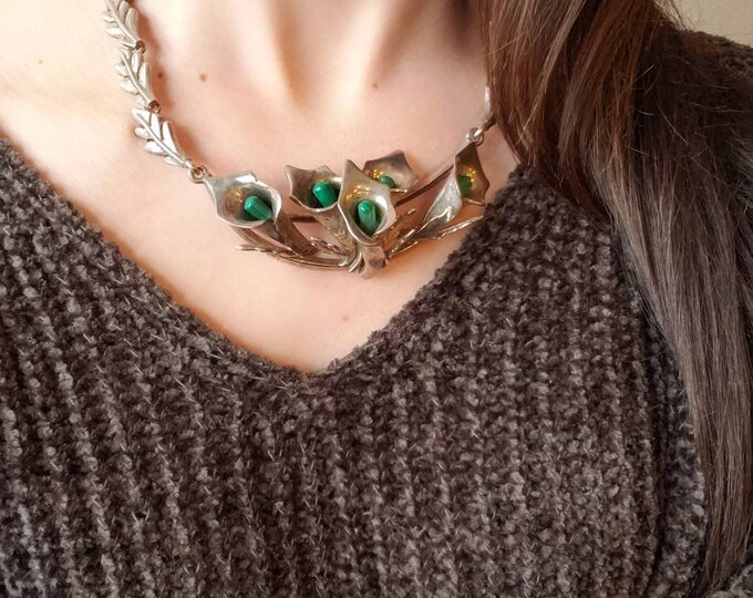 Mid-Century 950 Mexican Silver Calla Lily and Malachite Statement Necklace