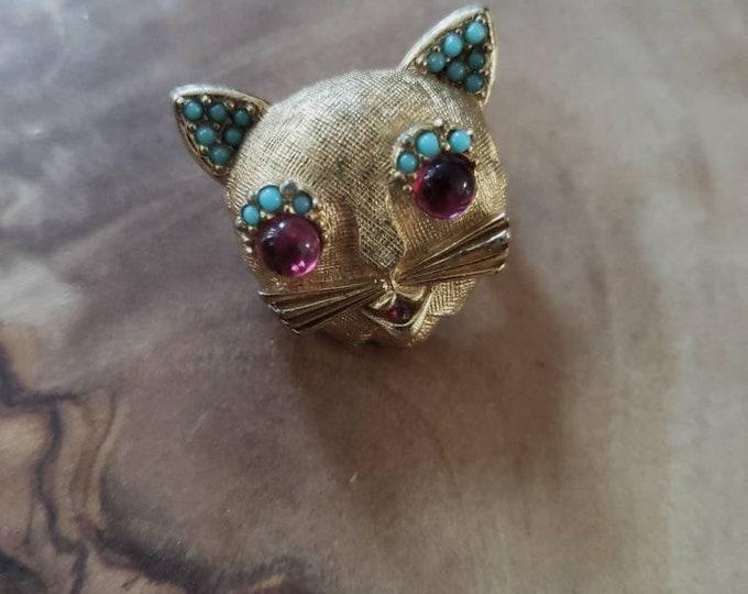 Signed Vintage 1960's Ciner Cat Pin