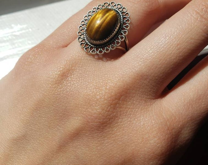 Beau Sterling and Tiger's Eye Ring