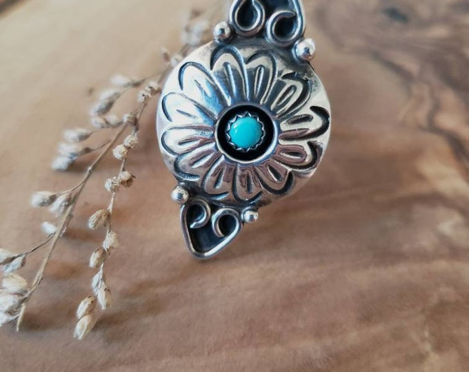 Signed Zuni Turquoise and Sterling Silver Shadow Box Ring