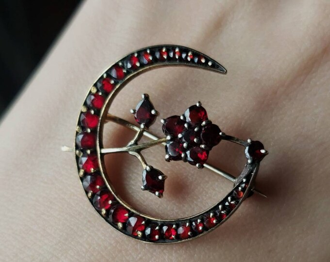 Rare Victorian Garnet Crescent Moon with Blooming Flower Pin