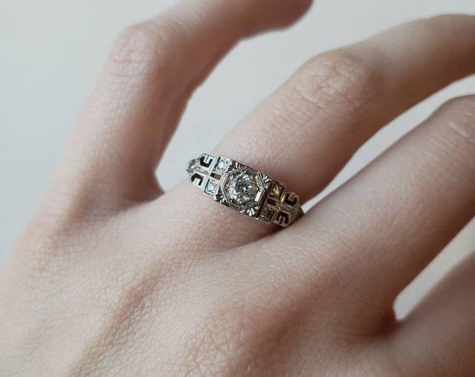 Antique 1920's Art Deco 18k Diamond Ring