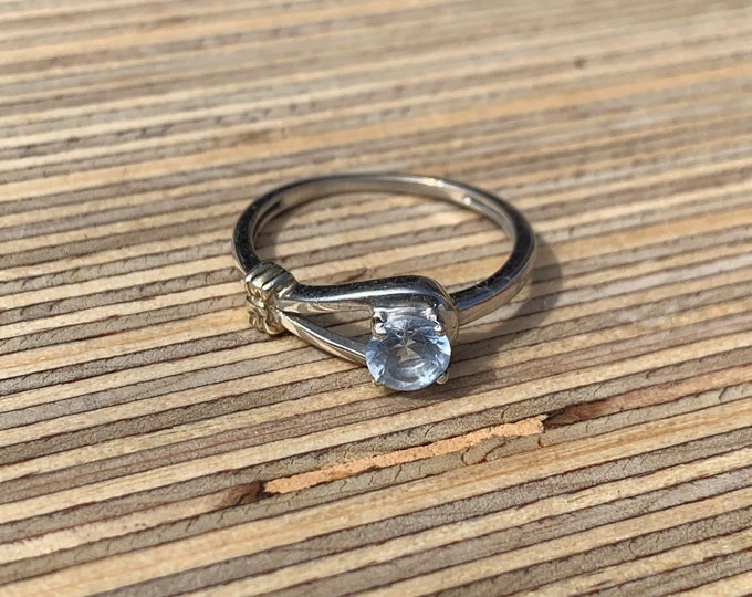 Sterling Silver Loop Ring w/ Pale Blue Stone
