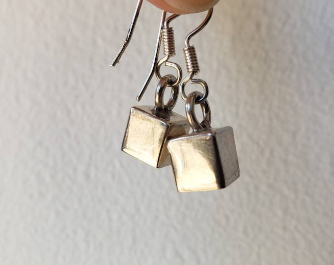 Vintage Mexican Sterling Silver Cube Mini Dangle Earrings