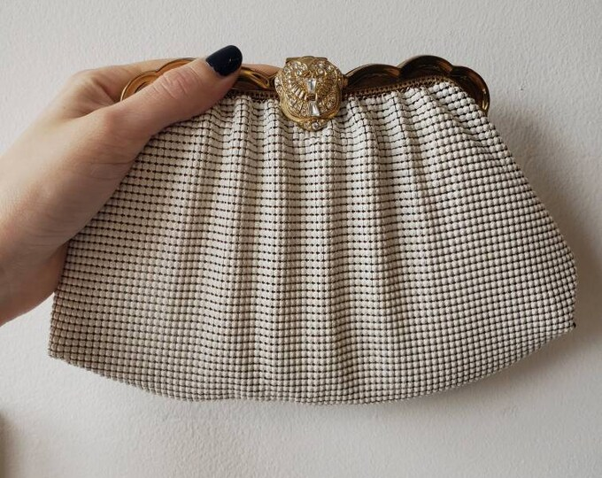 Vintage Whiting and Davis White Mesh and Rhinestone Clutch