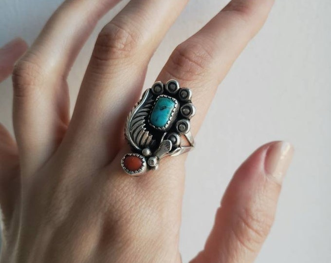 Signed JJM Native American Turquoise and Coral Sterling Silver Ring