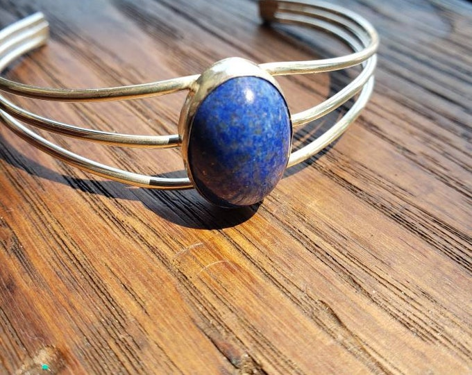 Vintage Sterling Silver and Oval Lapis Cuff